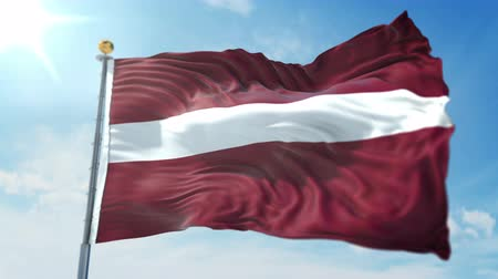 kırpma : Latvia flag seamless looping 3D rendering video. 3 in 1: clipping in ae. Beautiful textile cloth loop waving