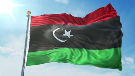 pólos : Libya flag seamless looping 3D rendering video. 3 in 1: clipping in ae. Beautiful textile cloth loop waving