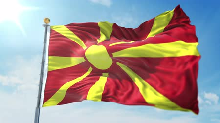 kırpma : Macedonia flag seamless looping 3D rendering video. 3 in 1: clipping in ae. Beautiful textile cloth loop waving Stok Video