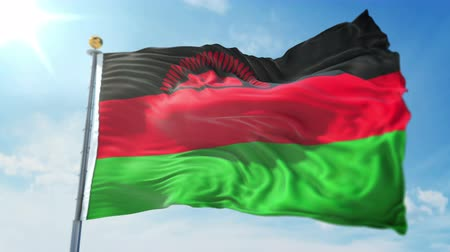 malawi : Malawi flag seamless looping 3D rendering video. 3 in 1: clipping in ae. Beautiful textile cloth loop waving