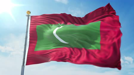 árbocszalag : Maldives flag seamless looping 3D rendering video. 3 in 1: clipping in ae. Beautiful textile cloth loop waving