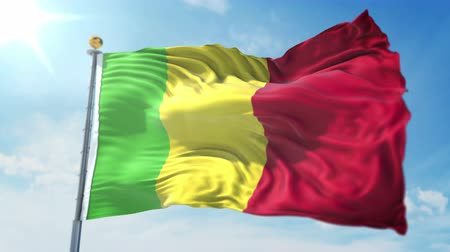 árbocszalag : Mali flag seamless looping 3D rendering video. 3 in 1: clipping in ae. Beautiful textile cloth loop waving