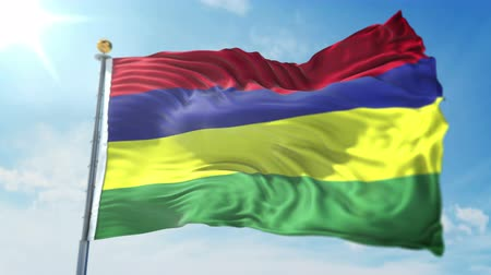 Mauritius flag seamless looping 3D rendering video. 3 in 1: clipping in ae. Beautiful textile cloth loop waving