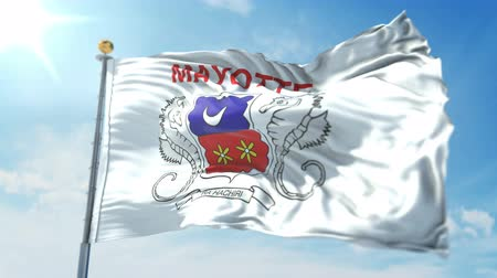 Mayotte flag seamless looping 3D rendering video. 3 in 1: clipping in ae. Beautiful textile cloth loop waving