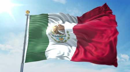 Mexico flag seamless looping 3D rendering video. 3 in 1: clipping in ae. Beautiful textile cloth loop waving Stock Footage
