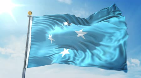 Micronesia flag seamless looping 3D rendering video. 3 in 1: clipping in ae. Beautiful textile cloth loop waving