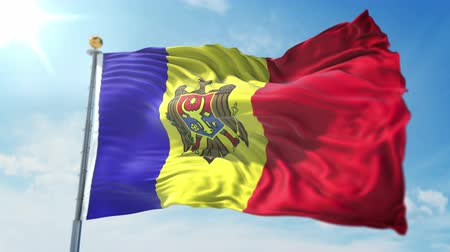 árbocszalag : Moldova flag seamless looping 3D rendering video. 3 in 1: clipping in ae. Beautiful textile cloth loop waving Stock mozgókép