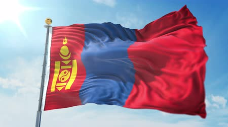 Mongolia flag seamless looping 3D rendering video. 3 in 1: clipping in ae. Beautiful textile cloth loop waving