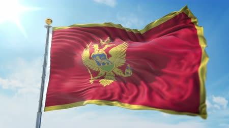 Montenegro flag seamless looping 3D rendering video. 3 in 1: clipping in ae. Beautiful textile cloth loop waving Stock Footage
