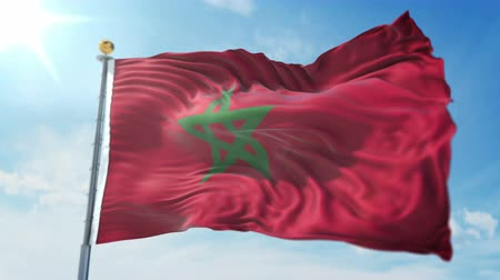 kırpma : Morocco flag seamless looping 3D rendering video. 3 in 1: clipping in ae. Beautiful textile cloth loop waving Stok Video