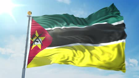 глянцевый : Mozambique flag seamless looping 3D rendering video. 3 in 1: clipping in ae. Beautiful textile cloth loop waving
