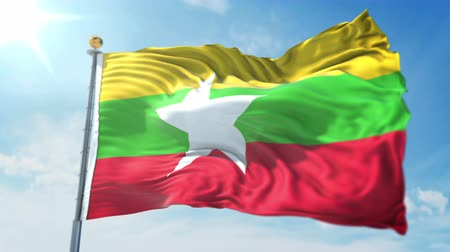 kırpma : Myanmar flag seamless looping 3D rendering video. 3 in 1: clipping in ae. Beautiful textile cloth loop waving