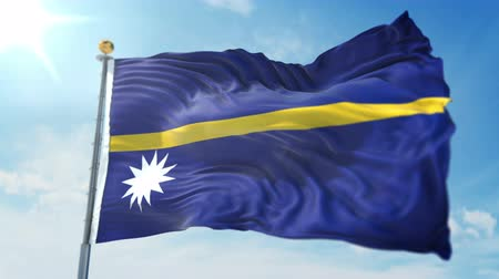 Nauru flag seamless looping 3D rendering video. 3 in 1: clipping in ae. Beautiful textile cloth loop waving