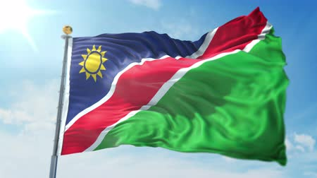 Namibia flag seamless looping 3D rendering video. 3 in 1: clipping in ae. Beautiful textile cloth loop waving