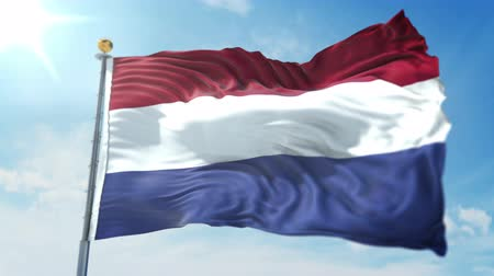 Netherlands flag seamless looping 3D rendering video. 3 in 1: clipping in ae. Beautiful textile cloth loop waving