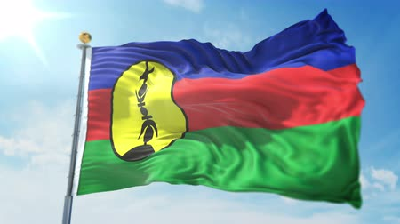 New Caledonia flag seamless looping 3D rendering video. 3 in 1: clipping in ae. Beautiful textile cloth loop waving