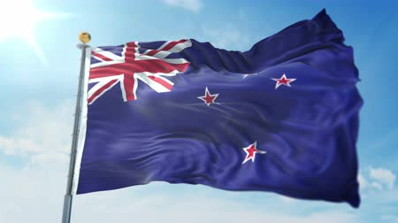 New Zealand flag seamless looping 3D rendering video. 3 in 1: clipping in ae. Beautiful textile cloth loop waving