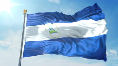 kırpma : Nicaragua flag seamless looping 3D rendering video. 3 in 1: clipping in ae. Beautiful textile cloth loop waving