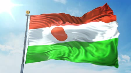 Niger flag seamless looping 3D rendering video. 3 in 1: clipping in ae. Beautiful textile cloth loop waving