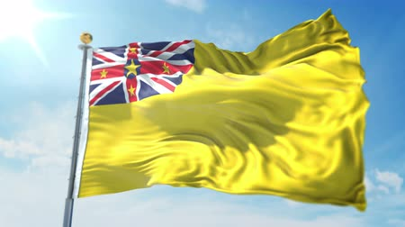 kırpma : Niue flag seamless looping 3D rendering video. 3 in 1: clipping in ae. Beautiful textile cloth loop waving