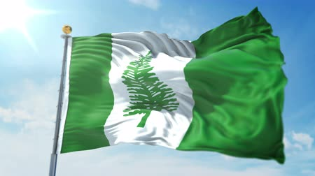 kırpma : Norfolk Island flag seamless looping 3D rendering video. 3 in 1: clipping in ae. Beautiful textile cloth loop waving