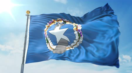 Northern Mariana Islands flag 3 in 1: clipping in ae. Beautiful textile cloth loop waving Stock Footage