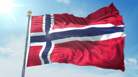 kırpma : Norway flag seamless looping 3D rendering video. 3 in 1: clipping in ae. Beautiful textile cloth loop waving