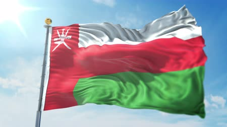 Oman flag seamless looping 3D rendering video. 3 in 1: clipping in ae. Beautiful textile cloth loop waving Stock Footage
