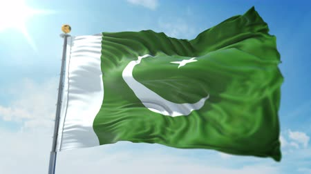 Pakistan flag seamless looping 3D rendering video. 3 in 1: clipping in ae. Beautiful textile cloth loop waving