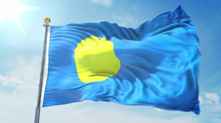 Palau flag seamless looping 3D rendering video. 3 in 1: clipping in ae. Beautiful textile cloth loop waving