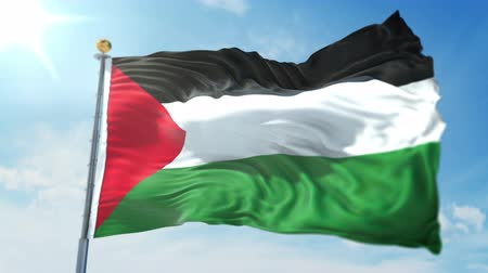 Palestine flag seamless looping 3D rendering video. 3 in 1: clipping in ae. Beautiful textile cloth loop waving
