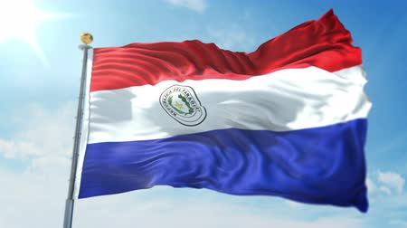 Paraguay flag seamless looping 3D rendering video. 3 in 1: clipping in ae. Beautiful textile cloth loop waving