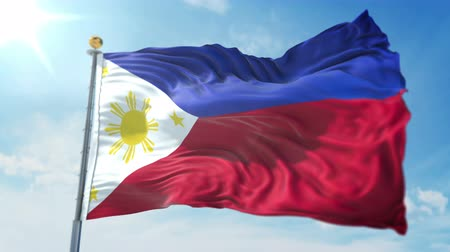 Philippines flag seamless looping 3D rendering video. 3 in 1: clipping in ae. Beautiful textile cloth loop waving