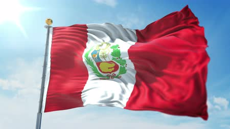 Peru flag seamless looping 3D rendering video. 3 in 1: clipping in ae. Beautiful textile cloth loop waving Stock Footage