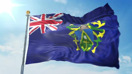 kırpma : Pitcairn Islands flag seamless looping 3D rendering video. 3 in 1: clipping in ae. Beautiful textile cloth loop waving