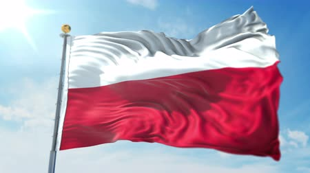 Poland flag seamless looping 3D rendering video. 3 in 1: clipping in ae. Beautiful textile cloth loop waving Stock Footage