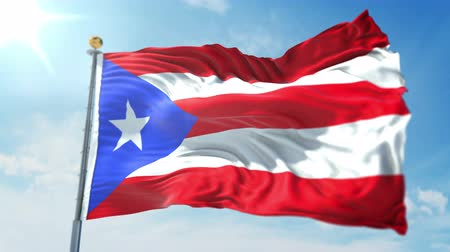 kırpma : Puerto Rico flag seamless looping 3D rendering video. 3 in 1: clipping in ae. Beautiful textile cloth loop waving Stok Video