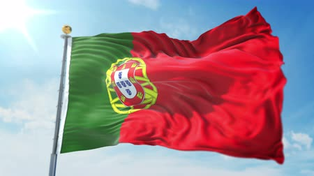 kırpma : Portugal flag seamless looping 3D rendering video. 3 in 1: clipping in ae. Beautiful textile cloth loop waving Stok Video