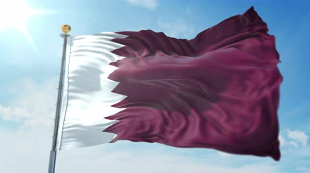 Qatar flag seamless looping 3D rendering video. 3 in 1: clipping in ae. Beautiful textile cloth loop waving