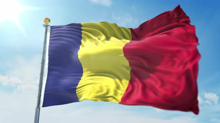 Romania flag seamless looping 3D rendering video. 3 in 1: clipping in ae. Beautiful textile cloth loop waving