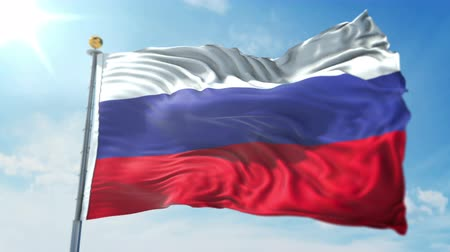 Russia flag seamless looping 3D rendering video. 3 in 1: clipping in ae. Beautiful textile cloth loop waving
