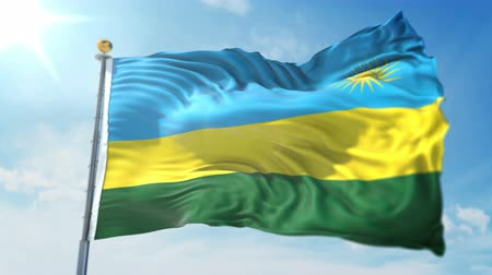Rwanda flag seamless looping 3D rendering video. 3 in 1: clipping in ae. Beautiful textile cloth loop waving Stock Footage