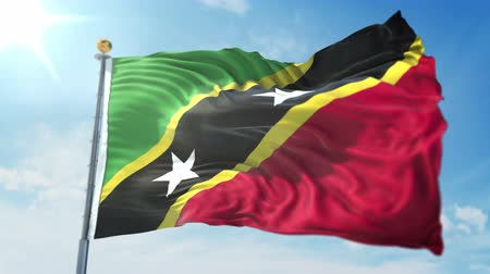 Saint Kitts and Nevis flag seamless looping 3D rendering video. 3 in 1: clipping in ae. Beautiful textile cloth loop waving