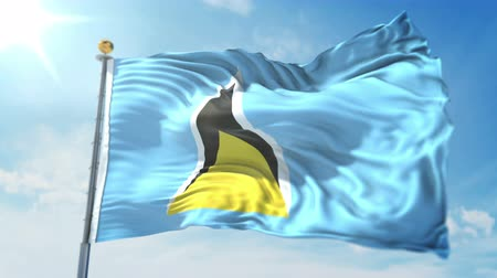 árbocszalag : Saint Lucia flag seamless looping 3D rendering video. 3 in 1: clipping in ae. Beautiful textile cloth loop waving