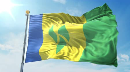 kırpma : Saint Vincent and the Grenadines flag seamless looping 3D rendering video. 3 in 1: clipping in ae. Beautiful textile cloth loop waving Stok Video