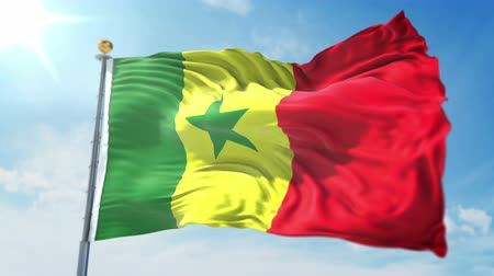 kırpma : Senegal flag seamless looping 3D rendering video. 3 in 1: clipping in ae. Beautiful textile cloth loop waving Stok Video