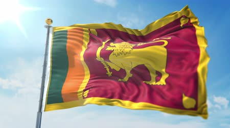 kırpma : Sri Lanka flag seamless looping 3D rendering video. 3 in 1: clipping in ae. Beautiful textile cloth loop waving