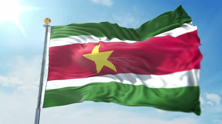kırpma : Suriname flag seamless looping 3D rendering video. 3 in 1: clipping in ae. Beautiful textile cloth loop waving