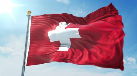 kırpma : Switzerland flag seamless looping 3D rendering video. 3 in 1: clipping in ae. Beautiful textile cloth loop waving