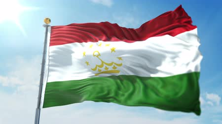 kırpma : Tajikistan flag seamless looping 3D rendering video. 3 in 1: clipping in ae. Beautiful textile cloth loop waving
